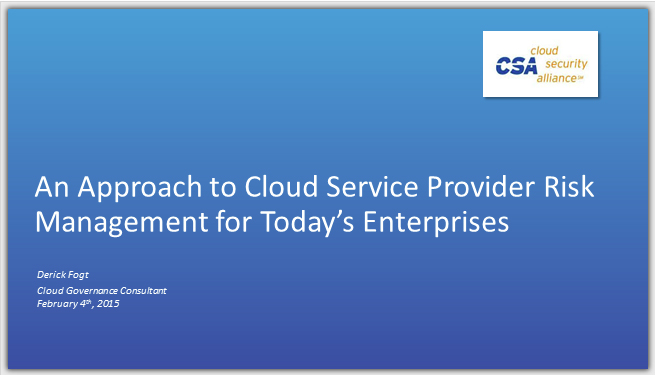 Cloud Service Provider Risk Management